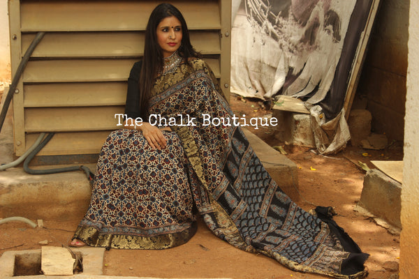 Black vegetable dyed Ajrakh Silk saree with zari border. KCH-SLK3-C12