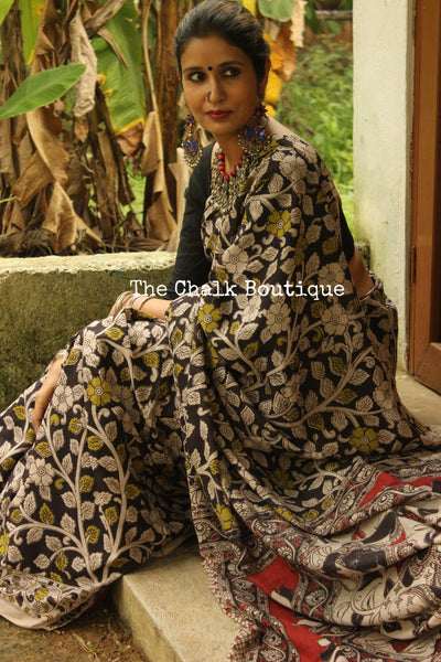 Hand Block Printed Cotton Kalamkari saree in Black with Overall Flower print  TCB-COT-10