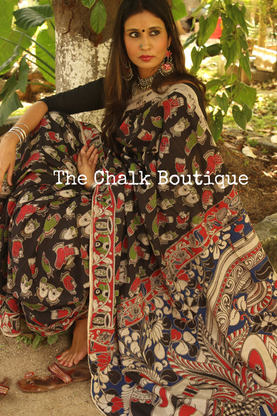 Hand Block Printed Cotton silk Kalamkari Saree. TCB-SKAL4-P4