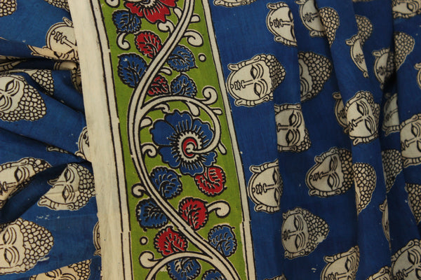 Buddha Hand Block Printed Cotton silk Kalamkari Saree. TCB-SKAL1-P4
