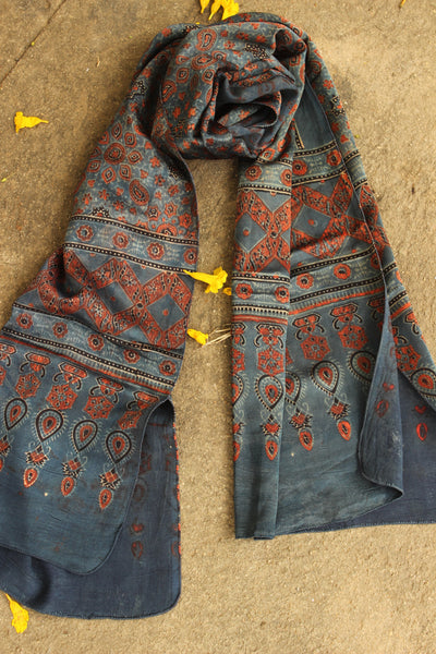 Indigo Modal silk vegetable dyed Ajrakh stole. KCH-STO15-C4