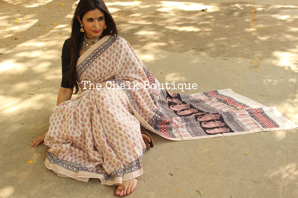| Mother Of Pearl | 'Bagh' hand block printed saree in maheshwari silk. TCB-SBGH1-P1-The Chalk Boutique