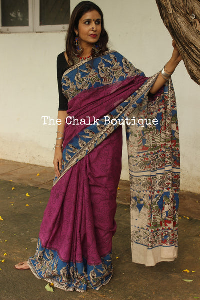 Hand block printed cotton kalamkari saree in purple with overall flower print TCB-COT-13