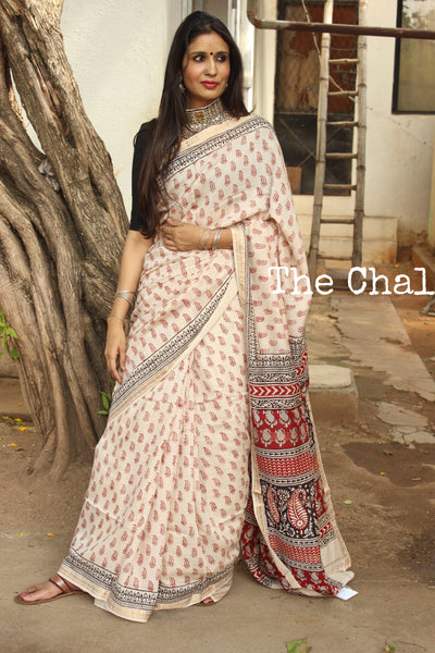| Sugar and Spice | 'Bagh' hand block printed saree in maheshwari silk. TCB-SBGH3-P1-The Chalk Boutique