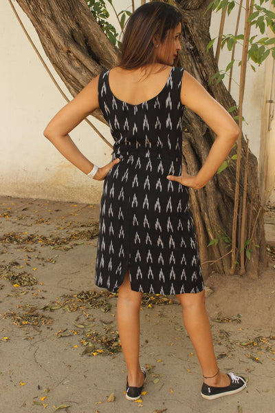 Black Handwoven Ikat Cotton Sheath Dress with slit