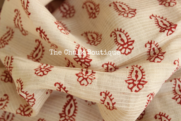 | Sugar and Spice | 'Bagh' hand block printed saree in maheshwari silk. TCB-SBGH3-P1