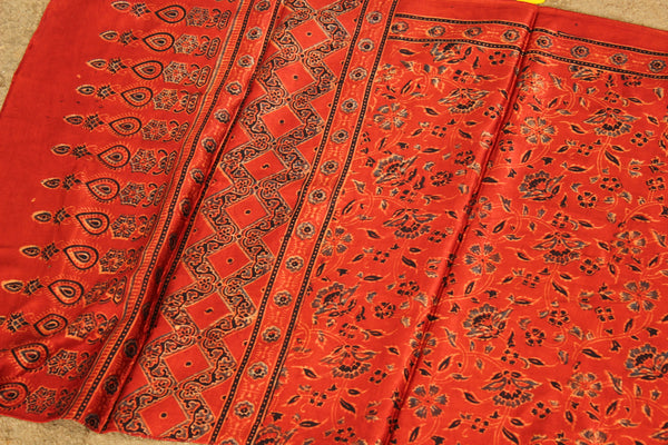 Madder Modal silk vegetable dyed Ajrakh stole. KCH-STO12-C4