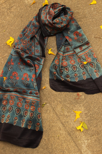 Indigo Modal silk vegetable dyed Ajrakh stole. KCH-STO18-C4