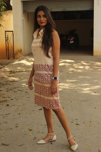Beige Collared Halterneck Handloom Cotton Shift Dress