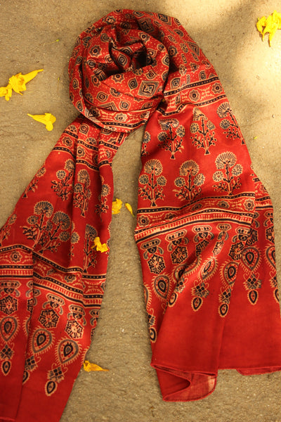 Madder Modal silk vegetable dyed Ajrakh stole. KCH-STO13-C4