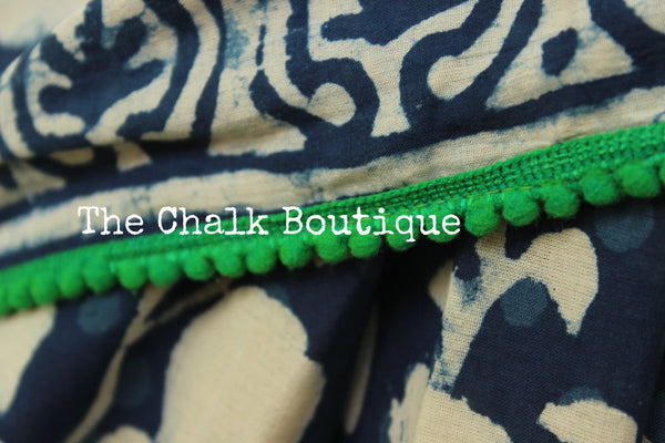 | Falling Leaves | Hand block printed indigo dabu saree with green border. TCB-IN1-RJ-The Chalk Boutique