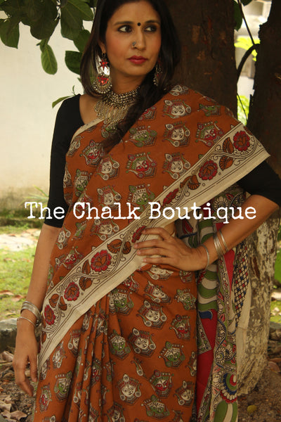 Devi Hand Block Printed Cotton silk Kalamkari Saree. TCB-SKAL6-P4