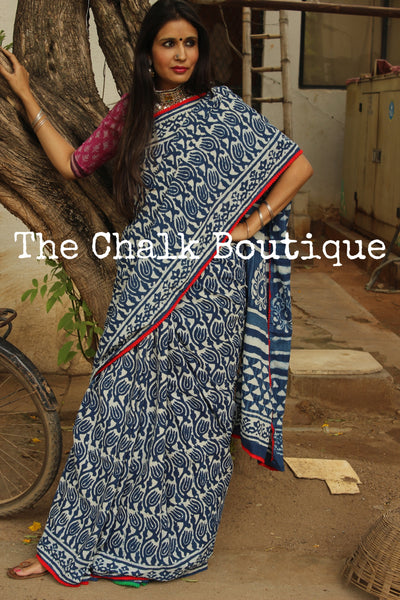 | Niloufer | Hand block printed indigo dabu saree with red border. TCB-IN2-RJ