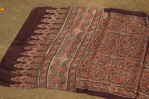 Coffee color Modal silk vegetable dyed Ajrakh stole. KCH-STO10-C4