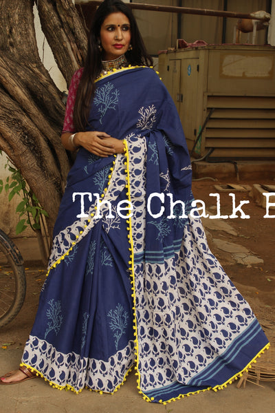| Vriksh | Hand block printed indigo dabu saree with yellow border. TCB-DB1-RJ