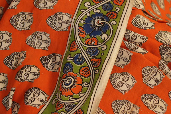 Orange buddha Hand Block Printed Cotton silk Kalamkari Saree. TCB-SKAL11-P4