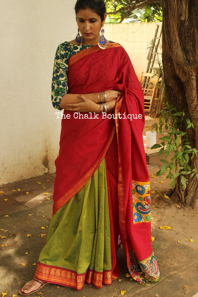 Festive saree in mangalagiri and silk cotton with hand painted kalamkari. RK-DESIGN4-C17