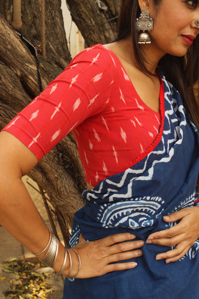 | Queen | -  Front Open Ready to wear cotton blouse in ikat.