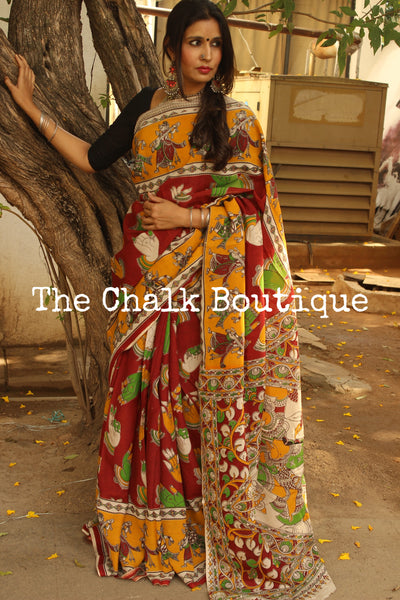 Red mudra Hand Block Printed Cotton silk Kalamkari Saree. TCB-SKAL10-P4