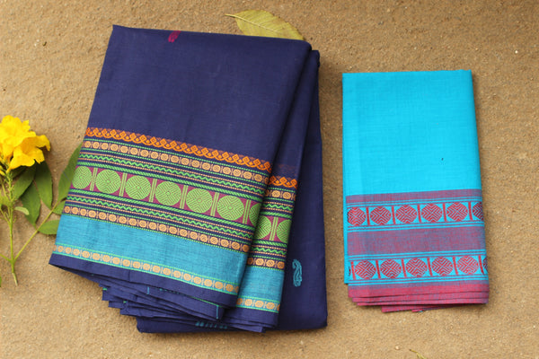 Blue Kanchi Cotton Saree With Broad Temple Border. RK-KC3-C39.