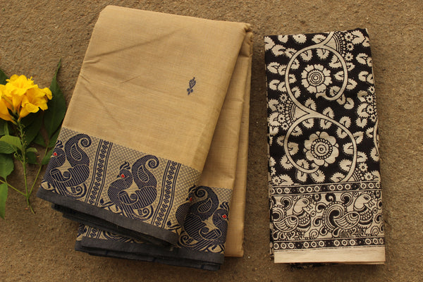 Beige Kanchi Cotton Saree With Peacock Border. RK-KC7-C39.