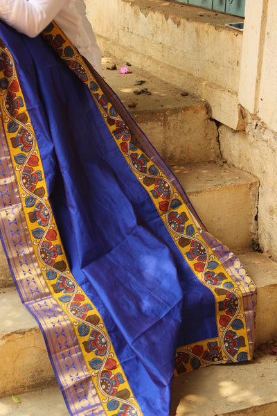 Festive poly silk dupatta with pen kalamkari borders. RK-DUP3-C29