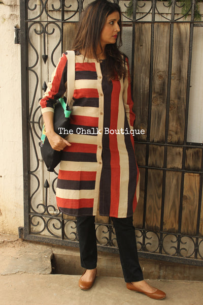 Embroidered Block Print Tunic With Pockets. GC-KU-30-The Chalk Boutique