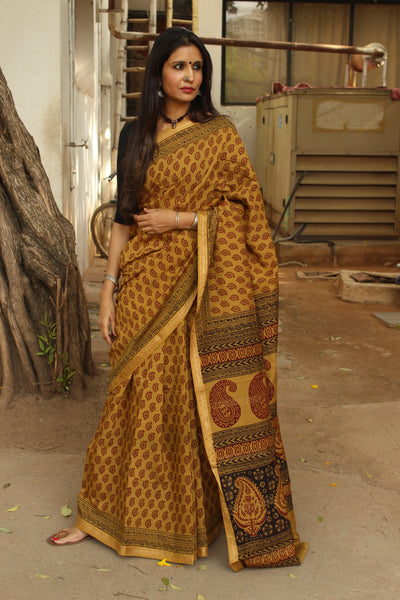 | Olives and Champagne | - 'Bagh' hand block printed saree in maheshwari silk.TCB-SBGH15-P1