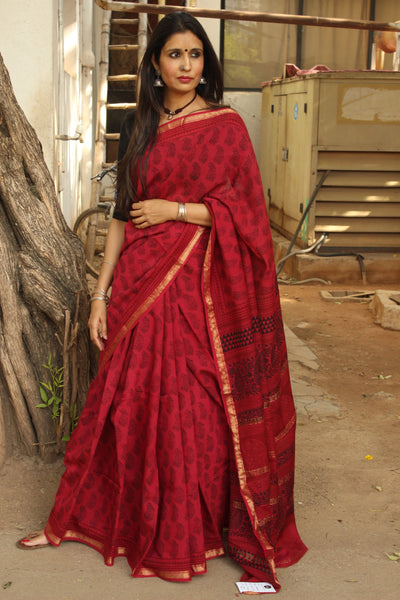 | Pink Ribbons | - 'Bagh' hand block printed saree in maheshwari silk.TCB-SBGH16-P1
