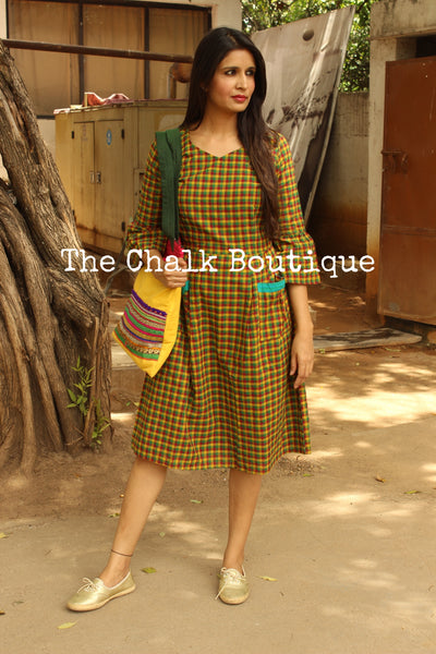 Green Checkered Handloom Cotton Midi Dress.  DRS0242
