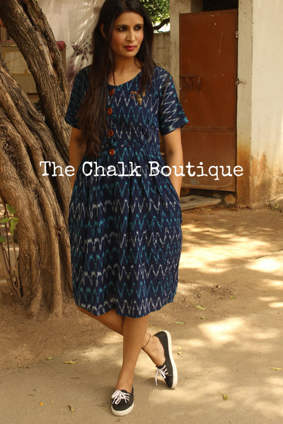 Dark Blue Ikat Cotton Midi Dress with Kantha Embroidery.  DRS0270