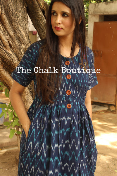 Dark Blue Ikat Cotton Midi Dress with Kantha Embroidery. DRS0270-The Chalk Boutique