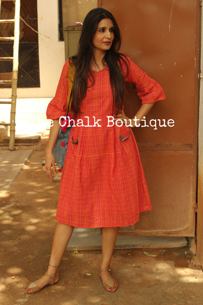 Orange and Pink Handloom Cotton Midi Dress. DRS0366