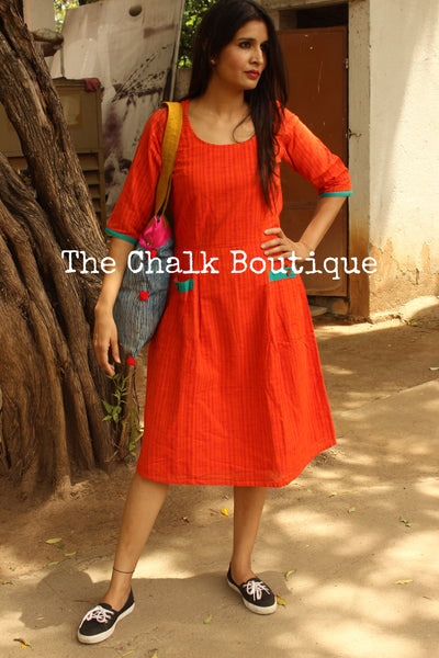 Orange Handloom Cotton Midi Dress with Kantha Embroidery and Bronze Charms. DRS0365-The Chalk Boutique