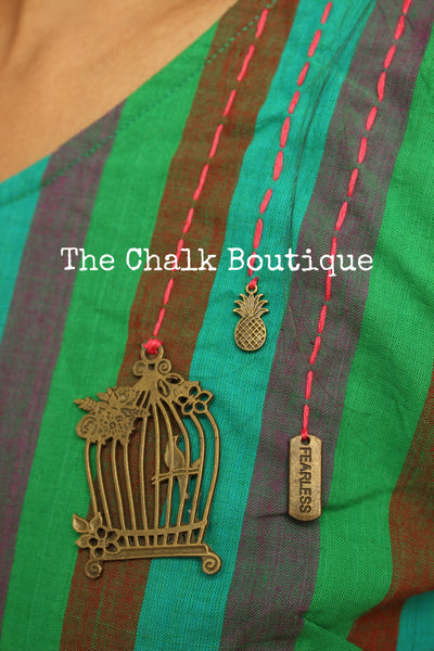 Green Stripped Handloom Cotton Midi Dress with Kantha Embroidery. DRS0269-The Chalk Boutique