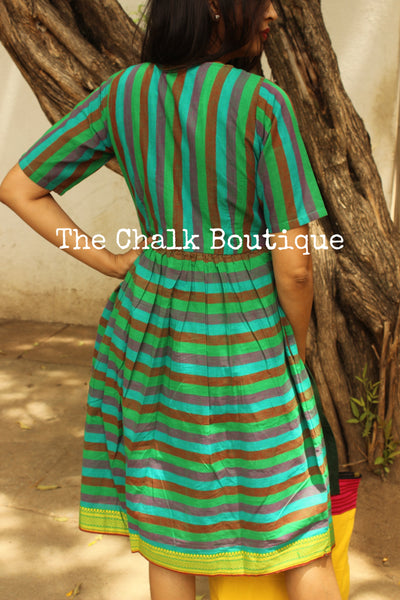 Green Stripped Handloom Cotton Midi Dress with Kantha Embroidery. DRS0269