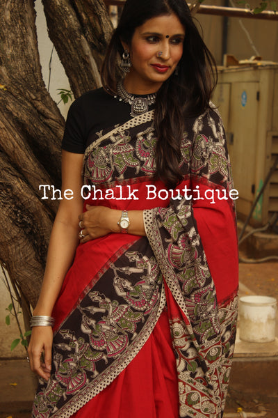 Soft hand block printed cotton Kalamkari Saree. Code- TCB-CKAL14-P4