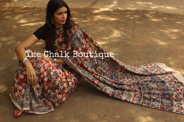 Soft hand block printed cotton Kalamkari Saree. Code- TCB-3008