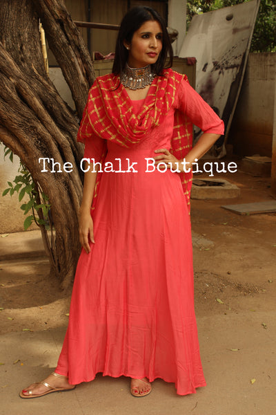 | RADHYA | - GC-D-273 ( Coral )-The Chalk Boutique