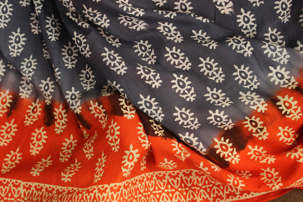 Cotton Hand Block printed dual shade dabu saree. SHB-MUL-8-C2