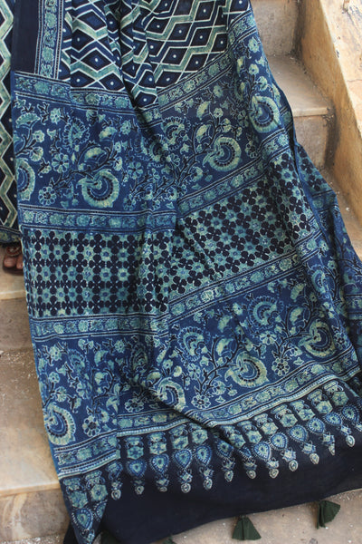 | Diamonds in the sky |  - Handwoven vegetable dyed Ajrakh mul cotton saree .