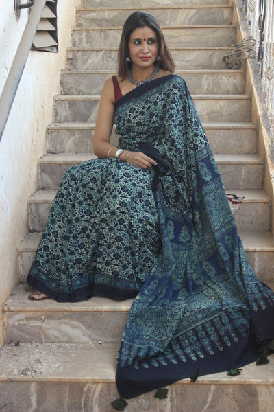 | Blue Day | - Handwoven vegetable dyed Ajrakh mul cotton saree .