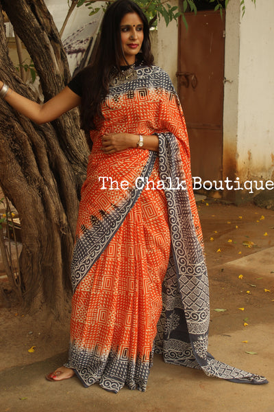 Cotton Hand Block printed dual shade dabu saree. SHB-MUL-14-C2