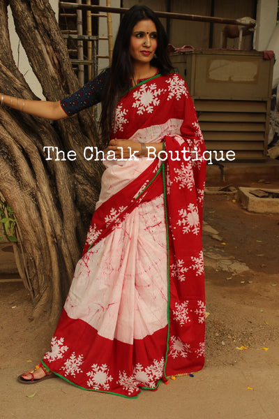 | Snowy Mornings | White and Red Hand Batik and block printed bagru saree with green border. TCB-DB5-RJ
