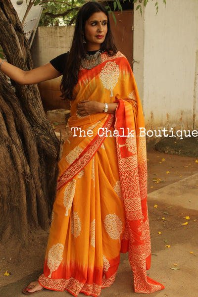 Cotton Hand Block printed dual shade dabu saree. SHB-MUL-13-C2