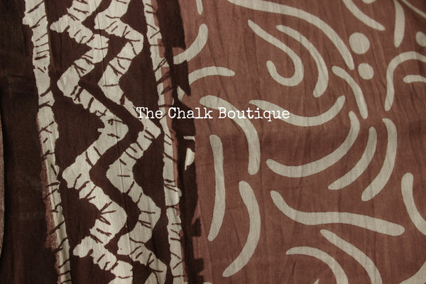 | Khuld ( Paradise )| Grey and Brown Hand block printed dabu saree with red border. TCB-DB7-RJ