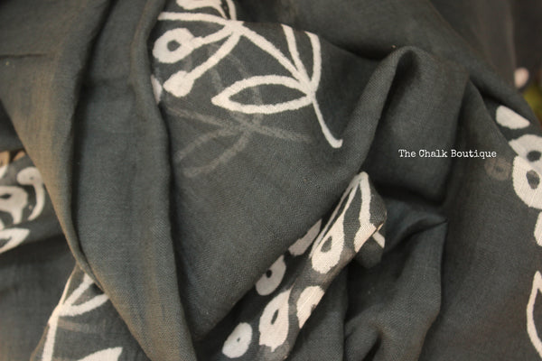 | Charcoal | Hand Block printed staple viscose cotton saree.