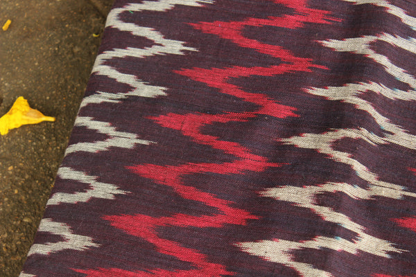 Black Ikat fabric in handwoven cotton. TCB-IK2-P5