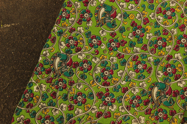 Green kalamkari fabric in handwoven cotton. TCB-FAB1-P5