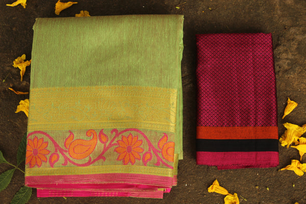 Light Green Chanderi Cotton Saree With Embroidered Border.RK-CHN1-C30